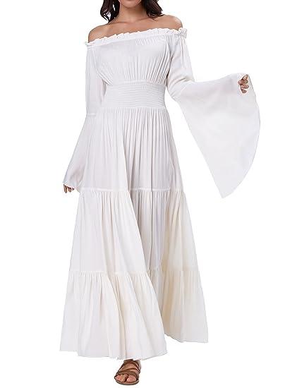 8622890418b Women s Bell Sleeve Elastic Waist Tiered Renaissance Costume Pleated Maxi  Dress BP000401-1 S Beige
