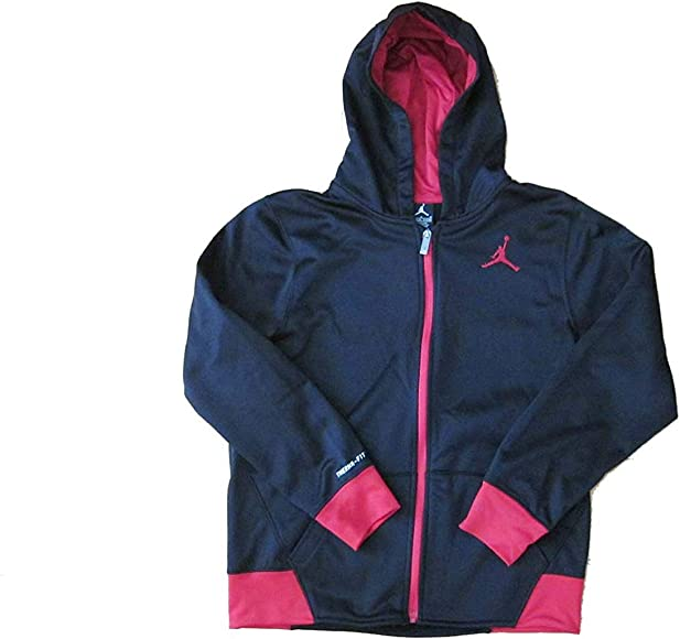 3468a45d769 Jordan Boys Youth Therma Fit Zippered Hoodie (Small, Black/Gym Red)