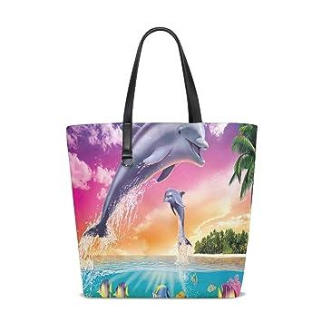 Amazon.com : Dolphins Beauty Tote Bag Purse Handbag Womens ...