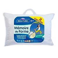 Bleu Câlin Lot DE 2 Oreillers Mémoire de Forme Blancs