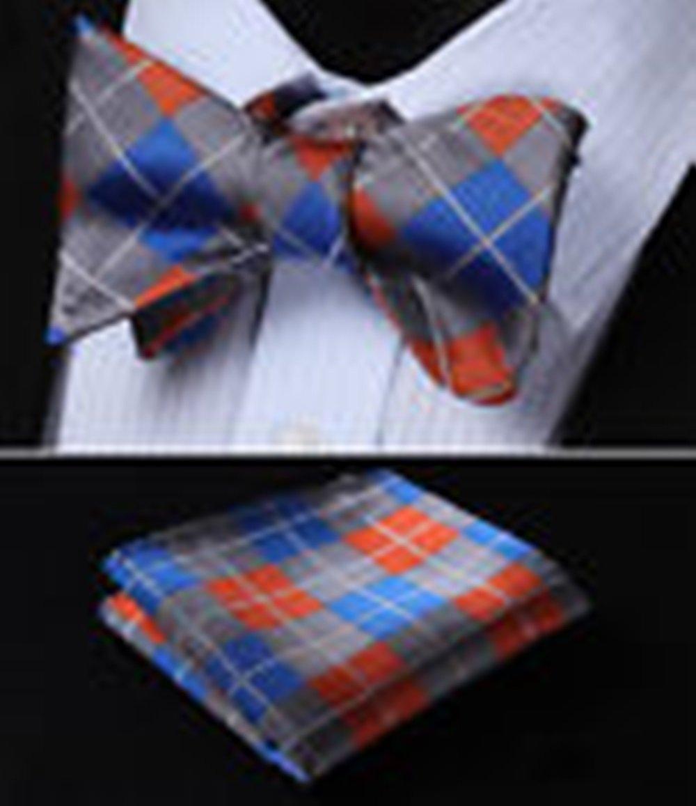 Mondaily DL4008B DLue Orange Check Men Woven Silk Self Bow Tie Pocket Square Set #PPTE4446