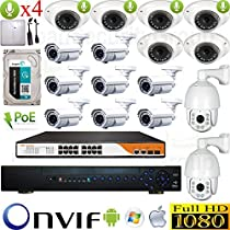 USG Sony DSP 16 Camera 1080P PoE IP CCTV Kit with AUDIO: 6x 1080P IP PoE 3.6mm Dome Cameras (4 of 6 with Audio) + 8x 1080P IP PoE 2.8-12mm Bullet Cameras + 2x 1080P IP PTZ 5-90mm 18x Zoom Lens + 1x 24 Channel 1080P NVR + 4x Microphones + 4x Mic PoE Kits + 1x 19 Port Gigabit Network PoE Switch + 1x 3TB HDD *** High Definition Video Surveillance For Your Home or Business
