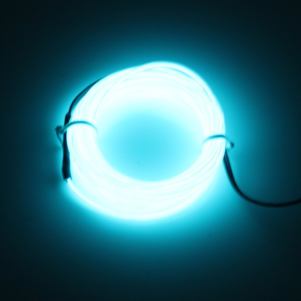 Lerway Light Blue 5M Tron Neon Flexible Glowing Electroluminescent Wire EL Wire with Transformer Christmas Light Party light 0046