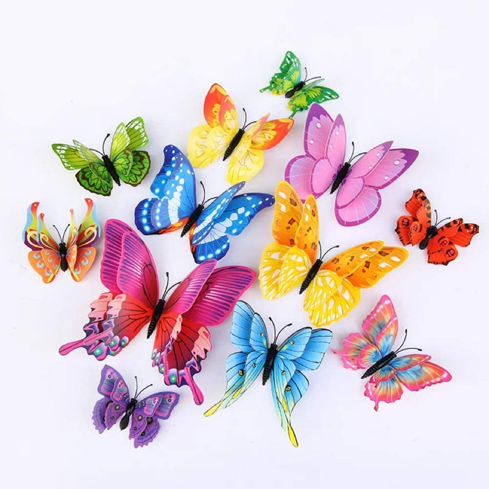 24Pcs Colorful Butterfly Wall Stickers DIY Art 3D Double Wings Decor Magnets Murals Stickers for Kids Girls Baby Women Bedroom Bathroom Living Room(Multi-Colored)