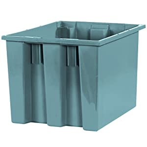 Aviditi Large Plastic Stack and Nest Storage Containers, 17 x 14-1/2 x 12-7/8 Inches, Gray, for Organizing Homes, Warehouses and Offices (6 Pack)