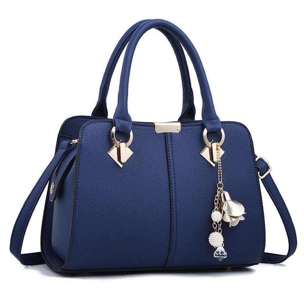 ファッションクロスボディショルダーバッグシンプルなテクスチャーレディースバッグ大容量レディースハンドバッグ (色 : 青) B07R3XFY8N 青