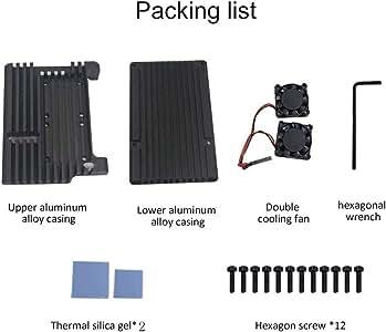 For Raspberry Pi 4 model B Universal aluminum case with free double fan Case For Raspberry Pi 4 Model B Official Shell