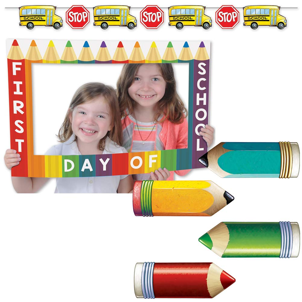 Back to First Day of School & 100th Day Classroom Wall Decorations, Bus Streamers and Photo Booth Picture Frame Prop Set Kit Bundle