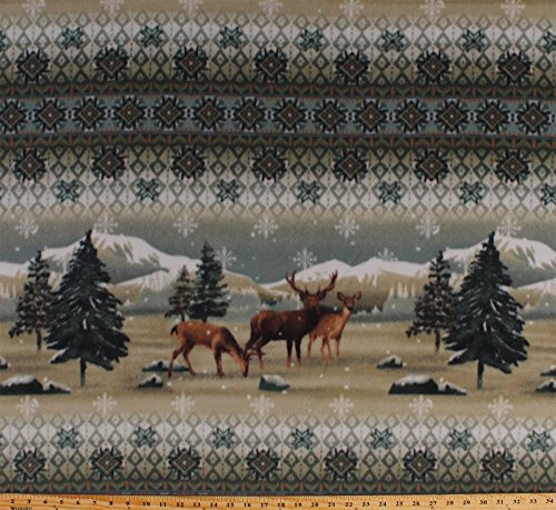 Fleece Rocky Mountain Deer Mountains Rockies Wildlife Pine Trees Snow Snowflakes Winter Animals Fleece Fabric Print by the Yard a42306xb