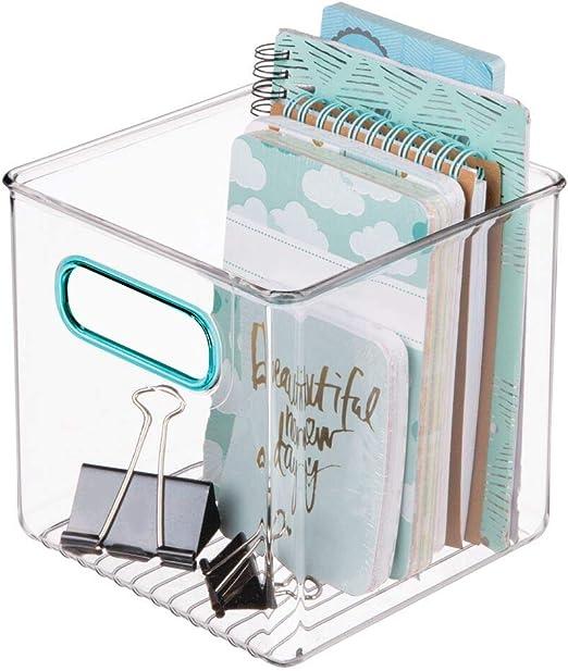 mDesign Caja de almacenaje con Asas integradas – Caja organizadora ...