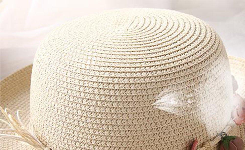 Drawihi Stroh hat Sun Beach Cap Damen Shell Flang Gap dreidimensionale Crown Fashion Elegantes Fest Hut