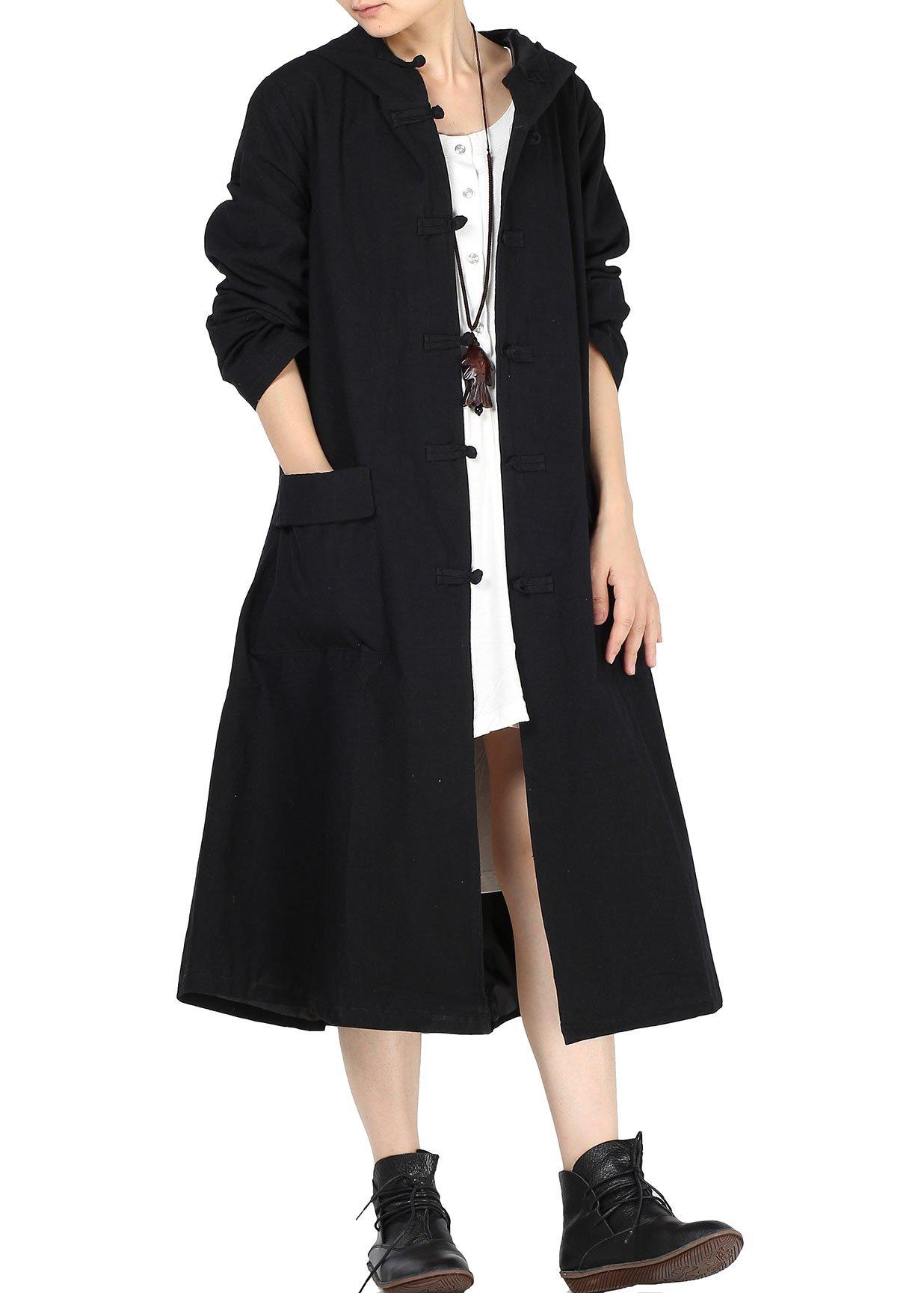 Minibee Women's Cotton Linen Button Detail Print Hood Coat Style 3 Black