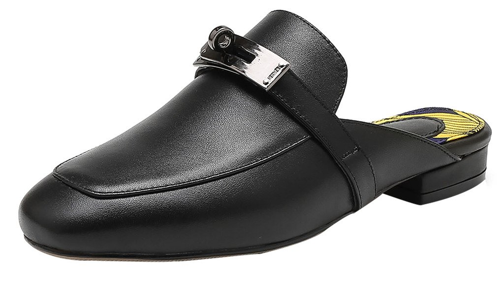Calaier Mujer Ca Bloquear 1.5CM Cuero Ponerse Zuecos Zapatos 36|Negro