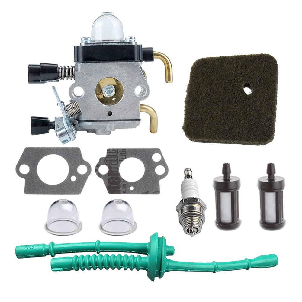 HIPA C1Q-S97 Carburetor with Air Filter Fuel Line Kit for STIHL FS38 FS45 FS46 FS55 KM55 HL45 FS45L FS45C FS46C FS55C FS55R FS55RC String Trimmer Weed Eater by HIPA