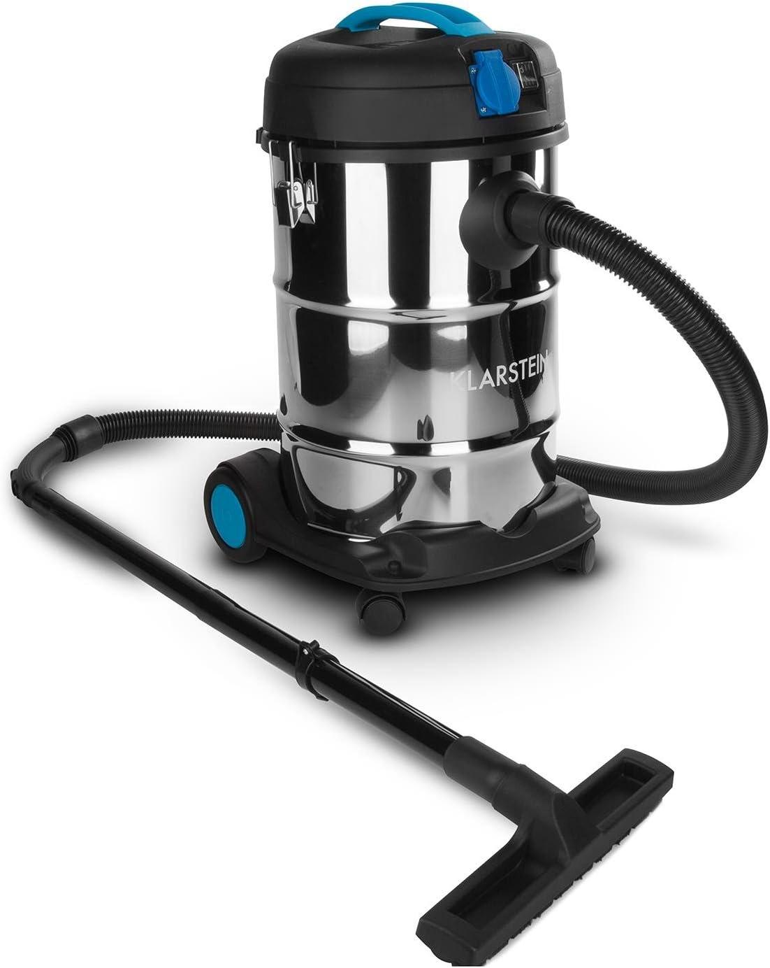 Klarstein Reinraum Prima - Aspiradora Industrial, 30 litros, 1200 W, aspiración en seco y húmedo, función de soplado, Toma de Corriente integrada, Azul: Amazon.es: Hogar