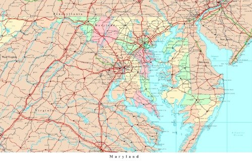 MARYLAND STATE ROAD MAP GLOSSY POSTER PICTURE PHOTO BANNER city (Political Template)