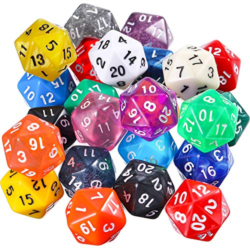 TecUnite 25 Pieces Polyhedral Dice Set with Black Pouch for DND RPG MTG and Other Table Games with Random Multi Colored Assortment (Color Set 3, D20)