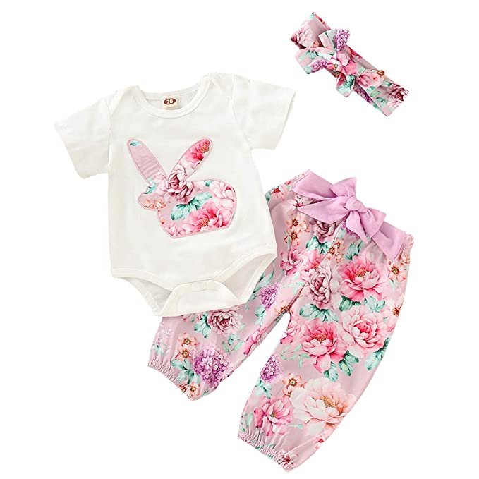 2725456f9ed74 OBEEII Baby Girl Easter Floral Bunny Rabbit Romper + Long Pants + ...