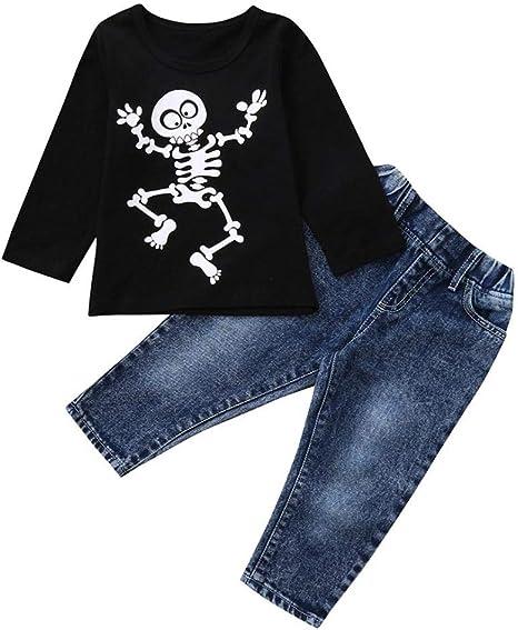 Ropa Bebe Barata De Bebe NiñA Catalogo De Ropa Para,Camiseta Infantil Con Estampado De Huesos Halloween Camiseta Con Pantalones Vaqueros Tops Jeans Ropa Casaul: Amazon.es: Bebé
