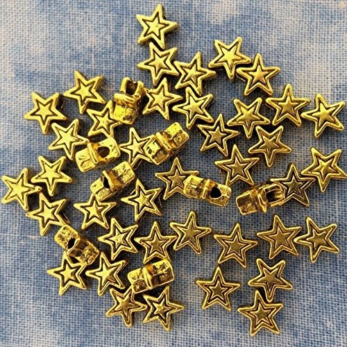 (OutletBestSelling Pendants Beads Bracelet Antique Gold Alloy Metal Star Beads/Spacer 50 Pieces)