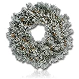 Custom & Unique (30'' Inches) 1 Single Large Size Decorative Holiday Wreath for Door w/ Artificial Winter Yule Christmas Festive Flocked Snowy Frosted Branches & Leaves Style (Yellow, White, & Green)