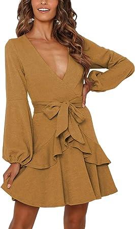 Cuello en V, vestido de túnica de manga larga con cinturón y dobladillo con falda irregular.,Vestido