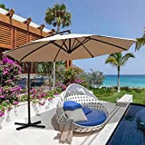 Patiorama 10 Ft Patio Umbrella Outdoor Hanging Cantilever Umbrella Crank Cross Base, 8 Steel Ribs, Beige