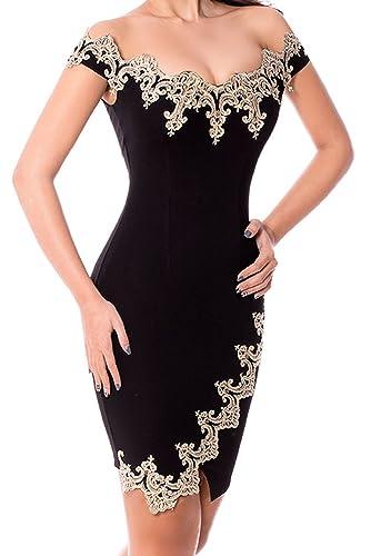 Alvaq Women Gold Lace Applique V Neck Off Shoulder Mini Dress (5 colors and S-XXL)