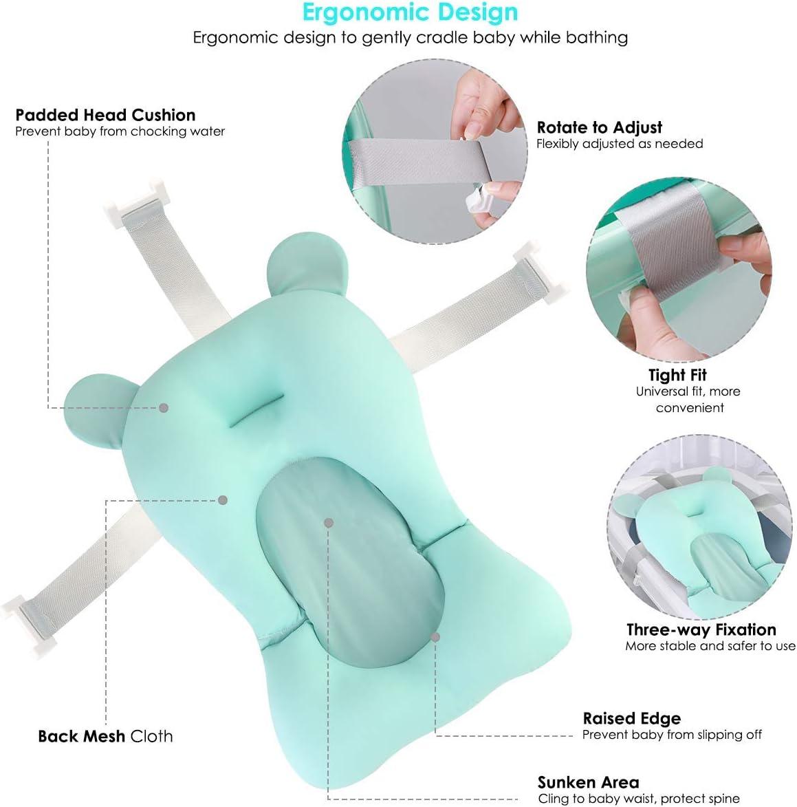 Bath Seat Pad,Bath Seat Support Net,Floating Soft Baby Bath Pillow /& Lounger Newborn Pad Tub Cushion Baby Bather Infant Bath Support