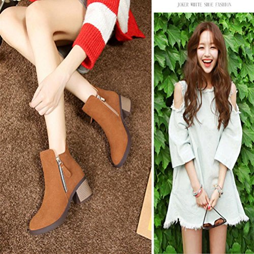 Women fashion Suede Non-slip mid heel zipper Boots/Female Ankle boots/shoes Brown d6wm8