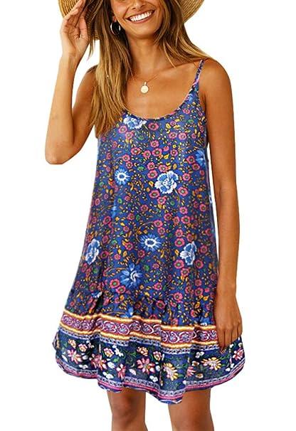 2572fc38d12e4 Annystore Women's Floral Printed Spaghetti Strap V Neck Beach Short Dress  Ruffle Mini Dress Swing Shift Dress