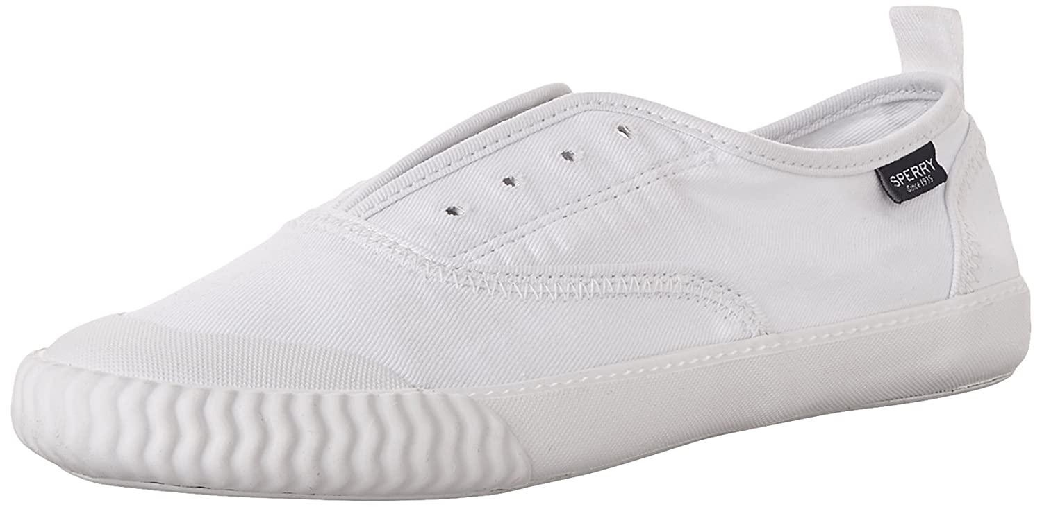 Sperry Top-Sider Women's Sayel Clew Washed Canvas Sneaker B015GIZOG0 5 B(M) US|White