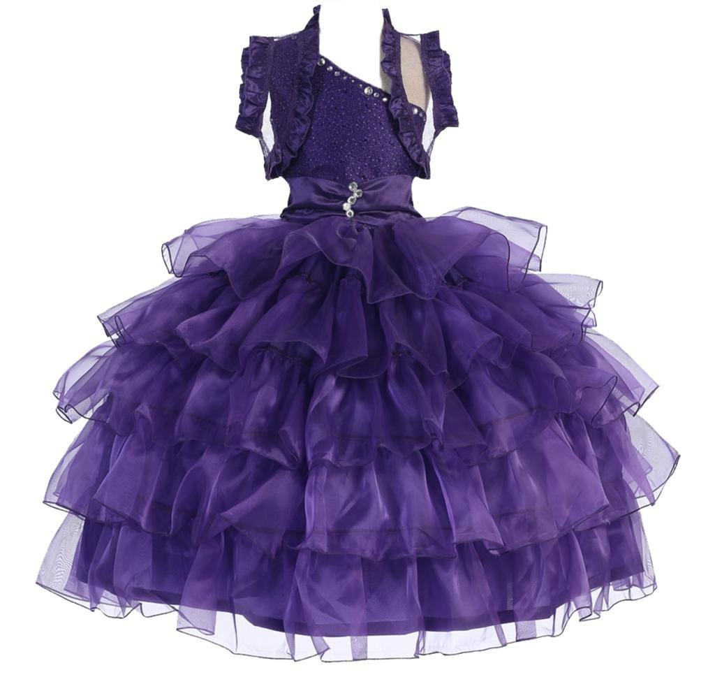 AkiDress One Shoulder Organza Multi Layered Presentation Dress for Little Girl Purple 4