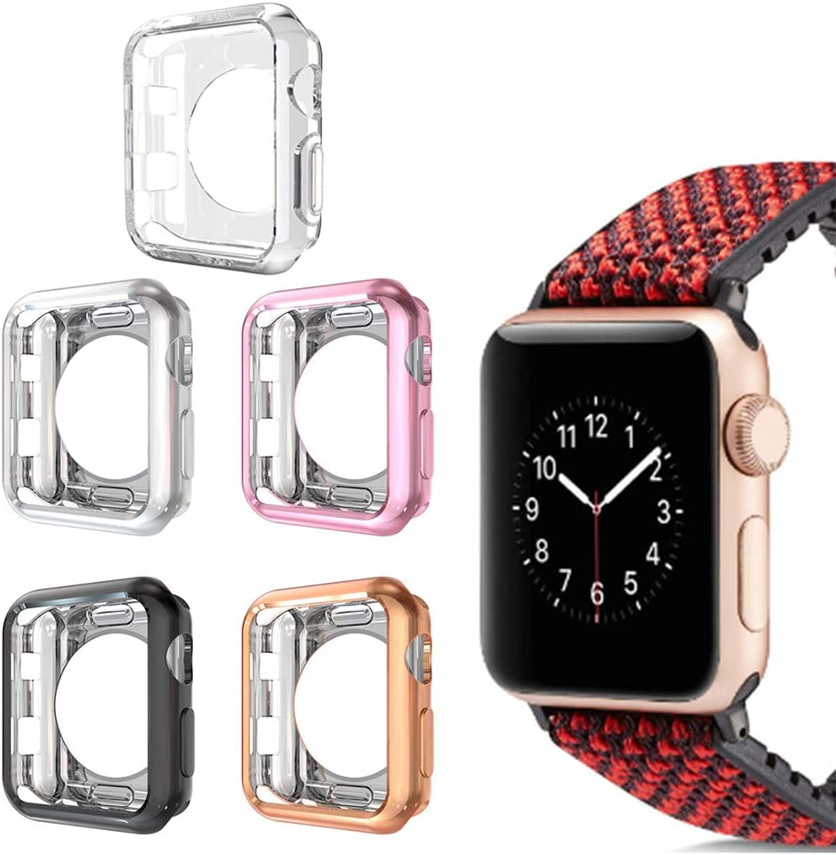 Compatible with Apple Watch Case 42mm,5 Pack Cuteey Slim Soft TPU iWatch Cover Protector Bumper for Apple Watch Series 3/2/1 Accessories (5 Pack, 42mm)