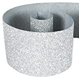 "HipGirl Glitter Sparkle Ribbon for Hair Bows, Cheer Bows, Dance, Floral Designs, Gift Wrapping, Sewing... (3"" x 10yd, Silver)"