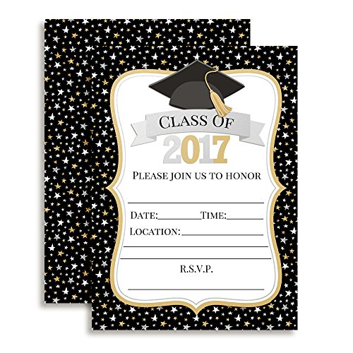 Classic Star Black, Gold and Silver Graduation Party Fill In Invitations set of 10 with envelopes. (Black And Gold Graduation Invitations)