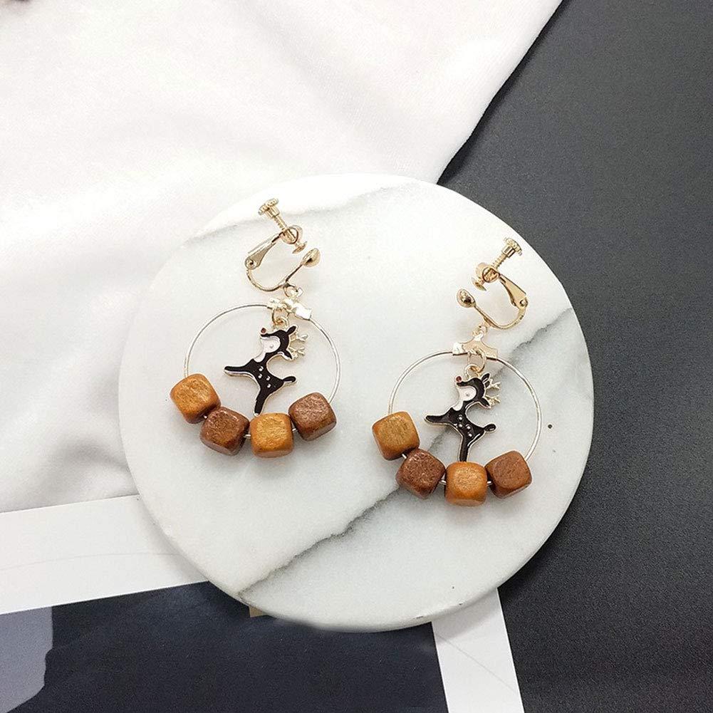 SuBoZhuLiuJ Vintage Earrings for Women Girls,Deer Wooden Cube Hollow Hook Clip Earrings for Party Banquet Jewelry