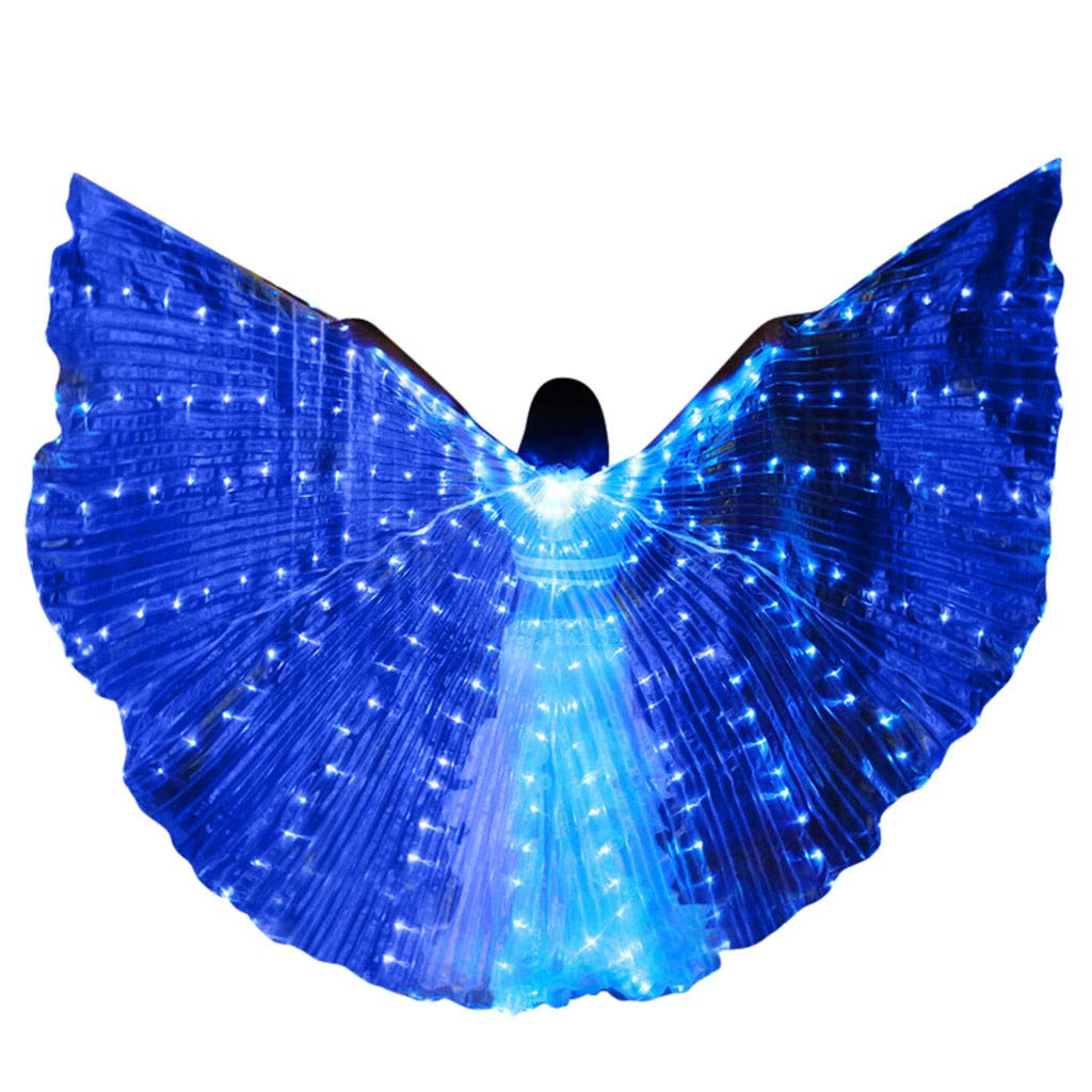 LED Belly Dance Isis Wings for Women, Colorful Butterfly Shawl Fairy Ladies Cape Nymph Pixie Costume Angel Wings with Telescopic Sticks for Halloween Carnival Performance Clothing (Blue)