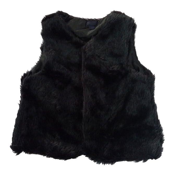 d4fa2da65 Amazon.com  Baby Little Girls Black Fur Vest Top Outerwear  Clothing