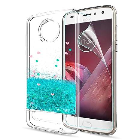 LeYi Funda Motorola Moto Z2 Play Silicona Purpurina Carcasa con HD Protectores de Pantalla,Transparente Cristal Bumper Telefono Gel TPU Fundas Case ...