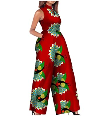 46073076182 Amazon.com  Highisa Women Summer African Style Dashiki Plus Size Rompers  Playsuit Red M  Clothing