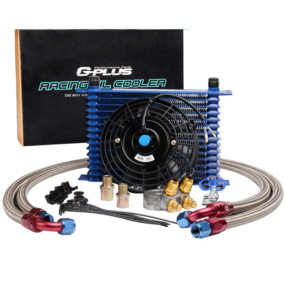 """15-Row 10 An Powder-Coated Aluminum Engine Thermostat Adaptor Oil Cooler + 7"""" 12 V Universal Cooling Fan + Oil Lines"""