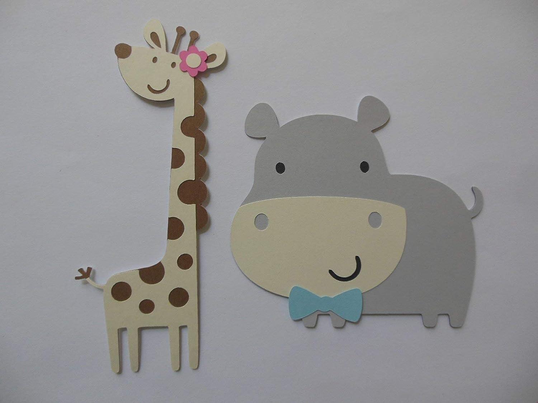 Elephant Giraffe Safari or Zoo Animal Cutouts Zebra Lion Hippo and Monkey