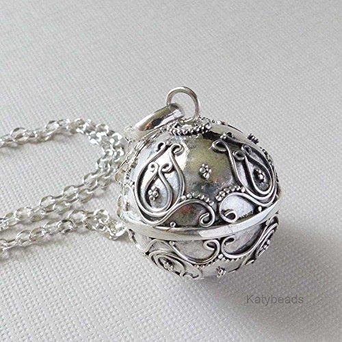 19mm Bali Ornate Sterling silver harmony ball Mexican bola (Ornate Ball)