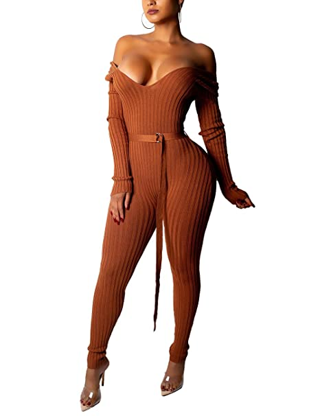 faafd3c697b Angsuttc Women s Bodycon Ribbed Jumpsuit V Neck Long Sleeve Leggings One  Piece Romper with Belt Coffee