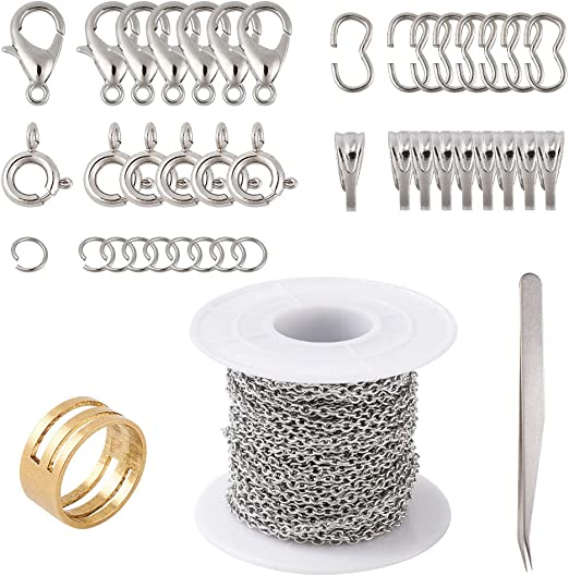 cadena de cruz trenzada para fabricaci/ón de joyas plata PandaHall Cadena de cable de lat/ón de 32.8 pies 2 x 1 x 0.5 mm sin soldar