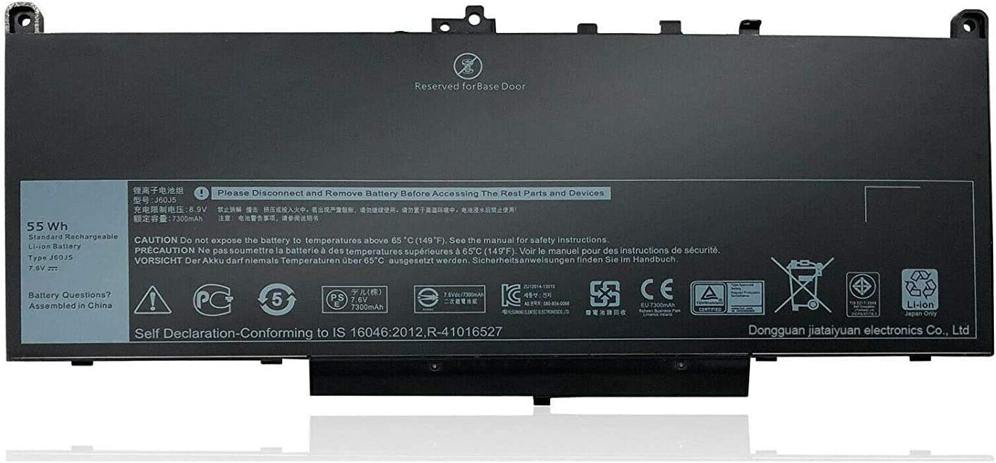 Batterymarket New J60J5 Replacement Battery Compatible with Dell Latitude E7270 Latitude E7470 MC34Y 242WD - 7.6V 55Wh