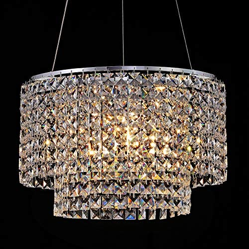 3-Light Crystal Chandeliers,Large Round Pendant Lamp,Modern Adjustable Ceiling Light Fixture,K9 Crystal Chandelier