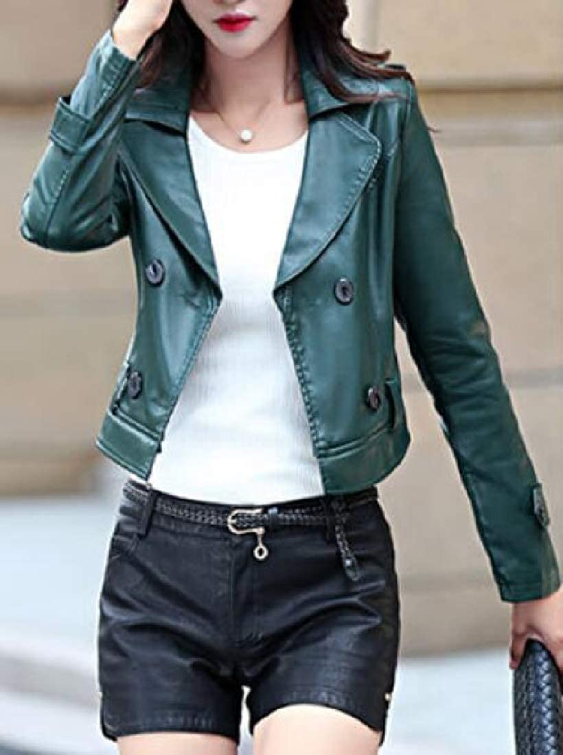 MOUTEN Womens Belted Classic Double Breasted Mid Length Pu Leather Jacket Trench Coat
