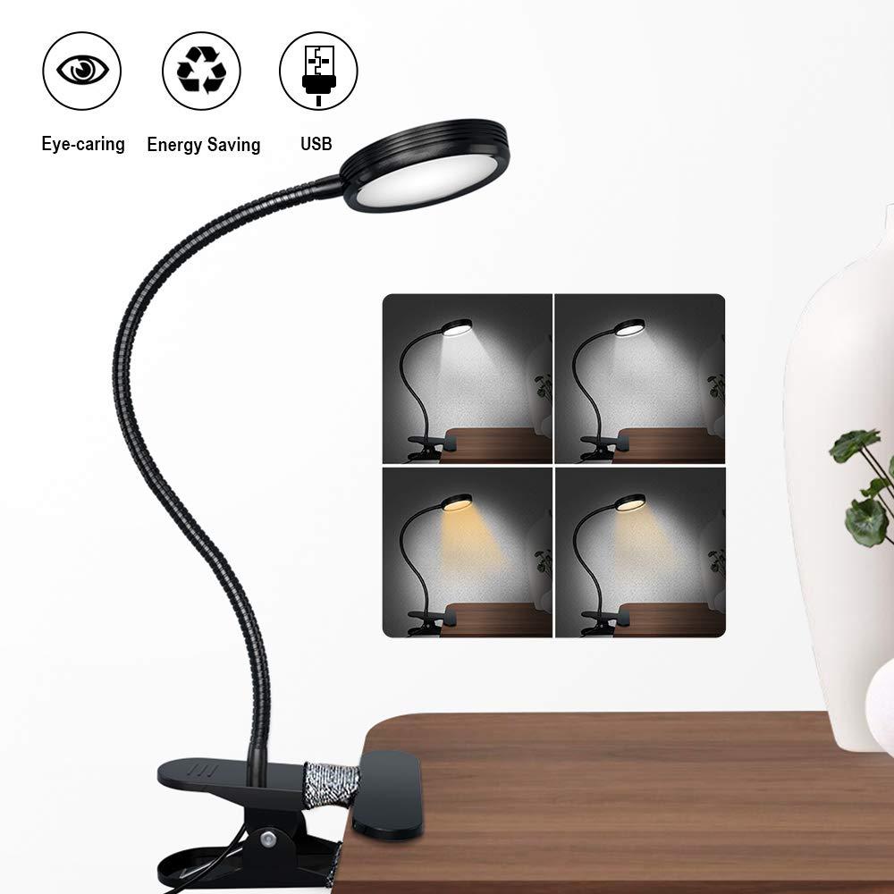 LED Clip Lamp with Dimmer USB Desk Table Lamp Reading Light Clip Lamp Black